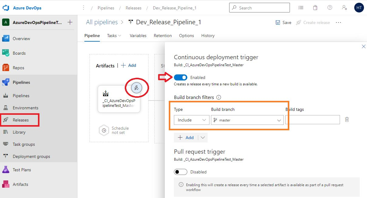 Azure DevOps - Release pipeline (Continous deployment) trigger